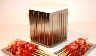 A special cube used to cut and skewer lamb for arrosticini.