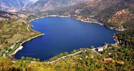 A view from above the heart shaped lake of Scanno, Italy.