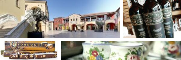 Shopping in Abruzzo collage of wine, chocolates, ceramics and Citta Sant'Angelo Outlet mall.